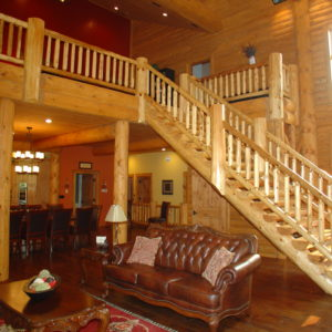 Cedar Log Stair Railings